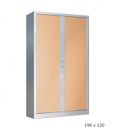 Armoire métallique haute aluminium à rideaux hêtre 198 x 120
