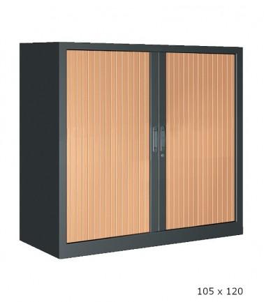 Grande armoire basse anthracite à rideaux hêtre