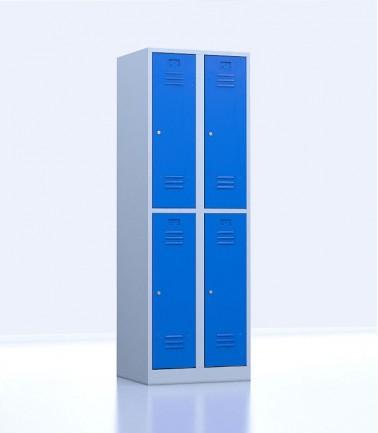 Vestiaires métalliques biplaces de 4 casiers 30 bleu