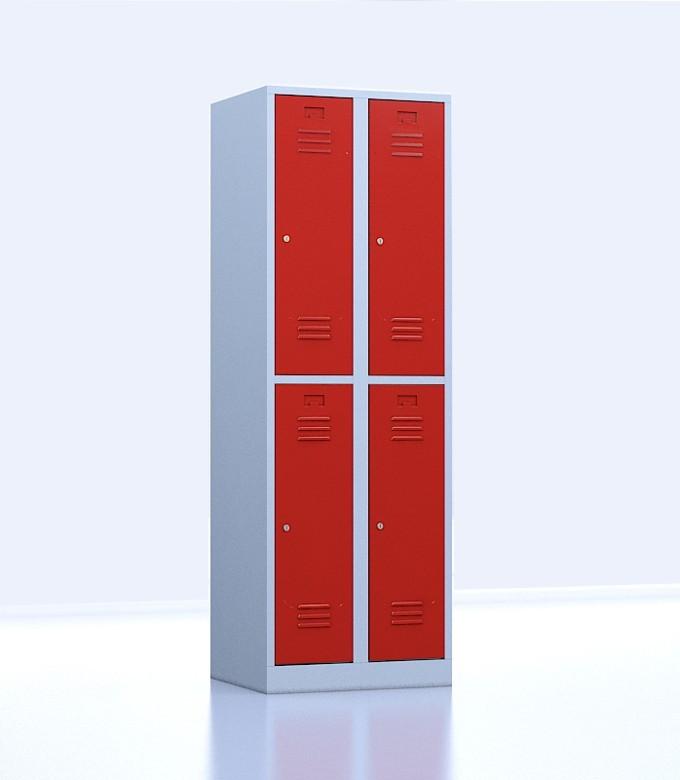 Vestiaires métalliques biplaces de 4 casiers 30 rouge