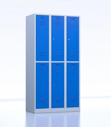 Vestiaires métalliques biplaces de 6 casiers 30 bleu