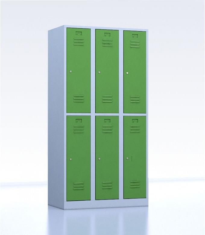 Vestiaires métalliques biplaces de 6 casiers 30 vert