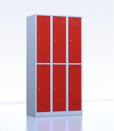 Vestiaires métalliques biplaces de 6 casiers 30 rouge