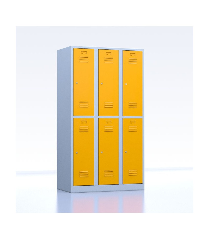 Vestiaires métalliques biplaces de 6 casiers 30 jaune