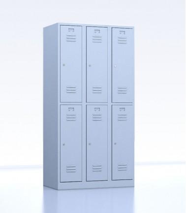 Vestiaires métalliques biplaces de 6 casiers 30 gris
