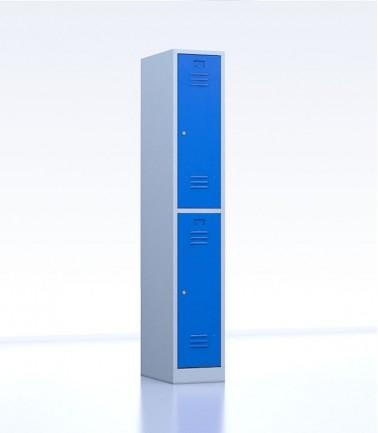 Vestiaires métalliques biplaces de 2 casiers largeur 30 cm bleu