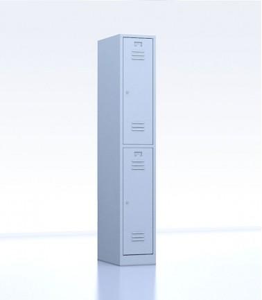 Vestiaires métalliques biplaces de 2 casiers largeur 30 cm gris