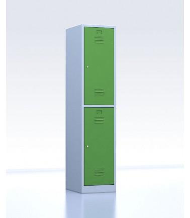Vestiaire métallique biplaces de 2 casiers largeur 40 cm vert