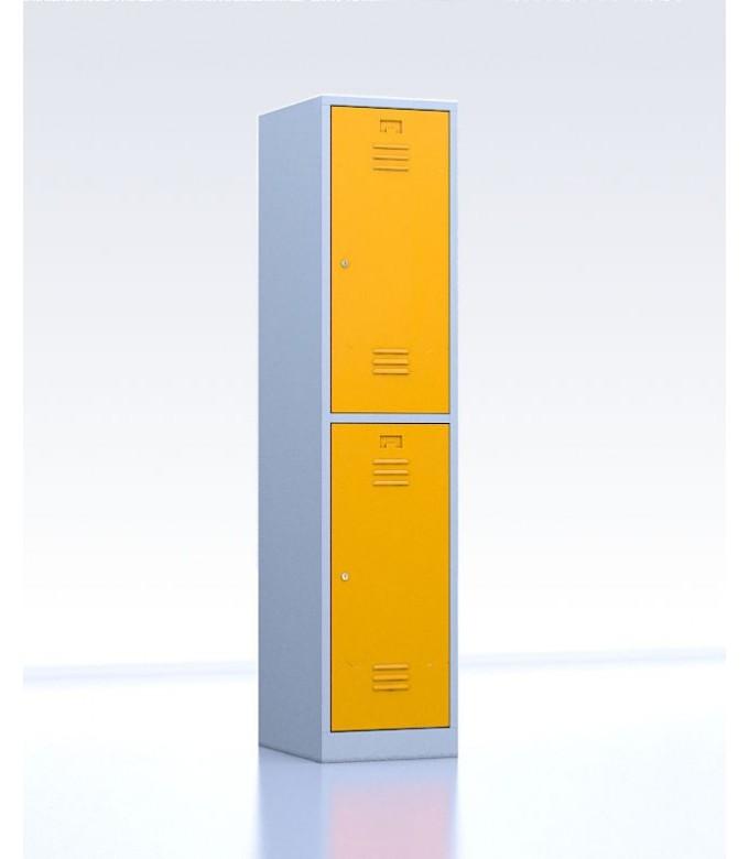Vestiaire métallique biplaces de 2 casiers largeur 40 cm jaune