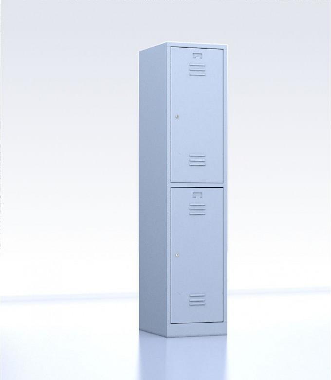 Vestiaire métallique biplaces de 2 casiers largeur 40 cm gris