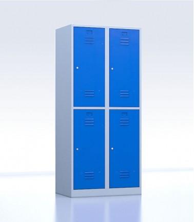 Vestiaires métalliques biplaces de 4 casiers bleu 40 cm