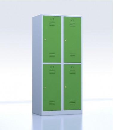 Vestiaires métalliques biplaces de 4 casiers vert 40 cm