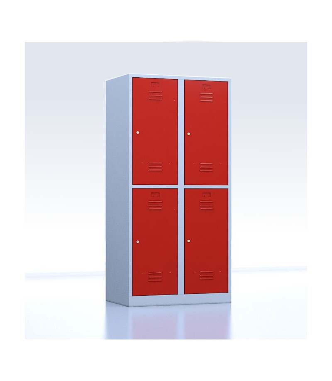 Vestiaires métalliques biplaces de 4 casiers rouge 40 cm