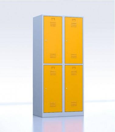 Vestiaires métalliques biplaces de 4 casiers jaune 40 cm