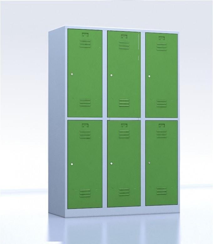 Vestiaires métalliques biplaces de 6 casiers 40 vert