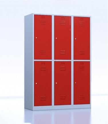 Vestiaires métalliques biplaces de 6 casiers 40 rouge