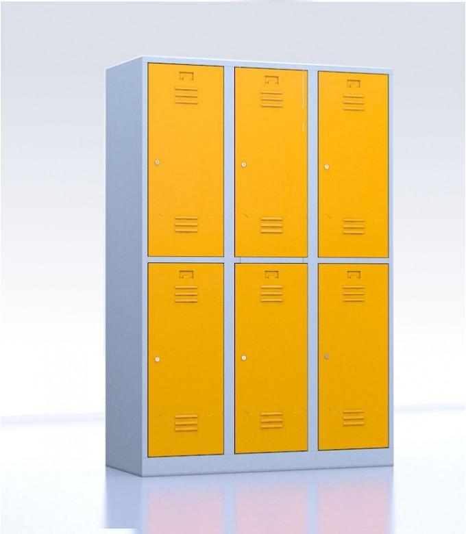 Vestiaires métalliques biplaces de 6 casiers 40 jaune