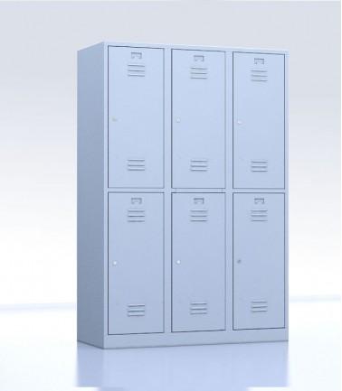 Vestiaires métalliques biplaces de 6 casiers 40 gris