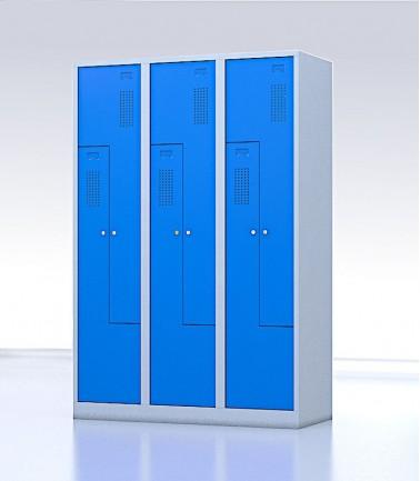 Vestiaire gain de place portes Z ou L 6 compartiments bleu