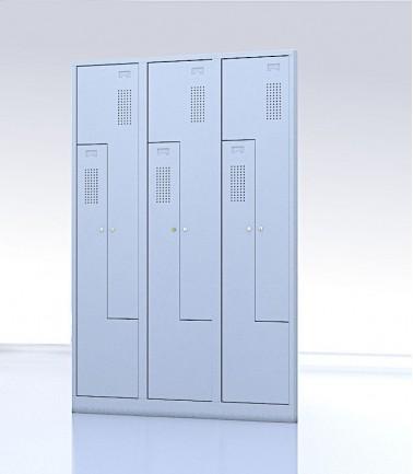 Vestiaire gain de place portes Z ou L 6 compartiments gris