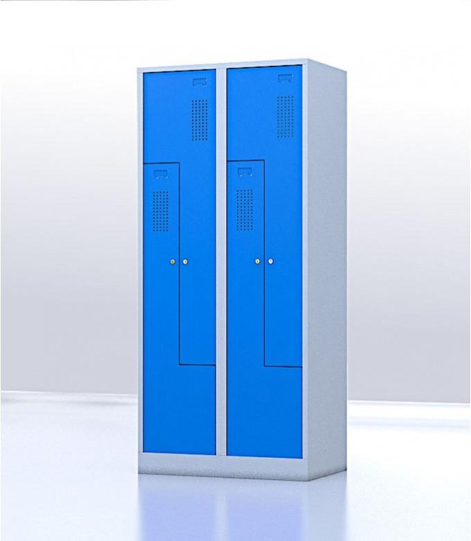 Vestiaire gain de place portes Z ou L 4 compartiments bleu