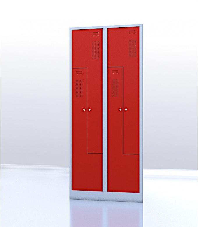 Vestiaire gain de place porte Z ou L 4 compartiments rouge