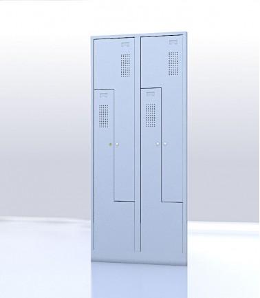 Vestiaire gain de place portes Z ou L 4 compartiments gris