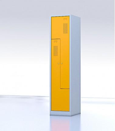 Vestiaire gain de place portes Z ou L 4 compartiments jaune